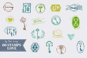 66 Vintage Love Stamps