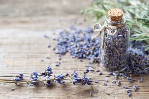 Bottle of dry lavender flowers.