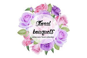 Watercolor floral bouquets
