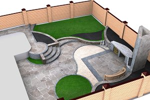 Landscaping backyard isometric view