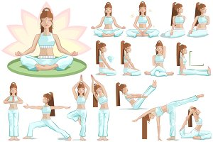 Set of 16 yoga woman