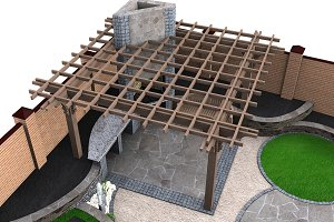Pergola high angle view, 3D render