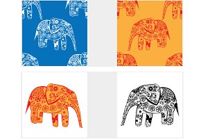 Set of Elephant. vector illustration