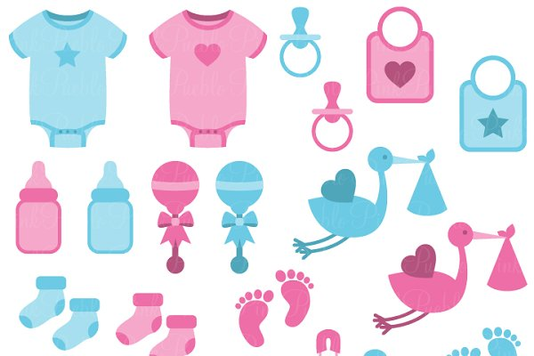 Boy And Girl Baby Clipart Vectors Pre Designed Illustrator Graphics Creative Market