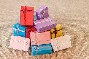 Stack of colorful small gift