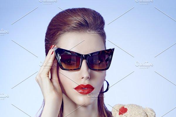 5bd43c6e08d1 Fashion beauty sexy redhead woman in stylish mini dress. Pinup ...