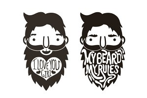 Funny bearded men. Lettering art