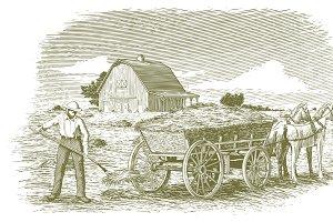 Woodcut Hay Farmer