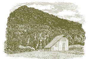 Woodcut Idaho Barn