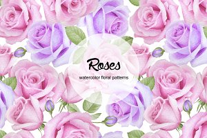 Watercolor roses seamless patterns