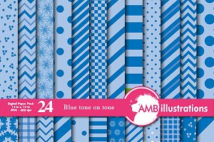Blue on Blue Digital Papers AMB-542