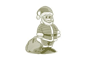 Engraved Cartoon Santa