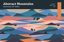 Abstract Mountains Seamless Patterns by  in Graphics