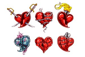 Tattoo Vector Hearts Set