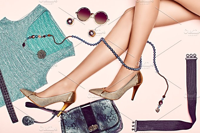 Fashion clothes stylish set, accessories womans legs.Trendy look - Beauty & Fashion