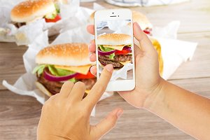making photo of hamburgers