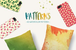 60 Seamless Watercolor Patterns