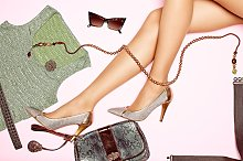 Fashion clothes stylish set, accessories womans legs.Trendy look