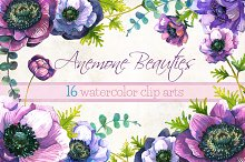 Anemone flowers watercolor clip arts