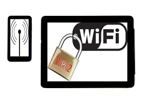Tablet and mobile concept wifi sign: