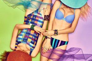 Beauty woman body in fashion swimsuit, lesbians, beach people