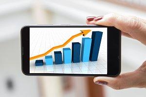 Mobile concept statistics: woman han