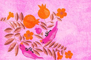 Birds in pomegranate garden