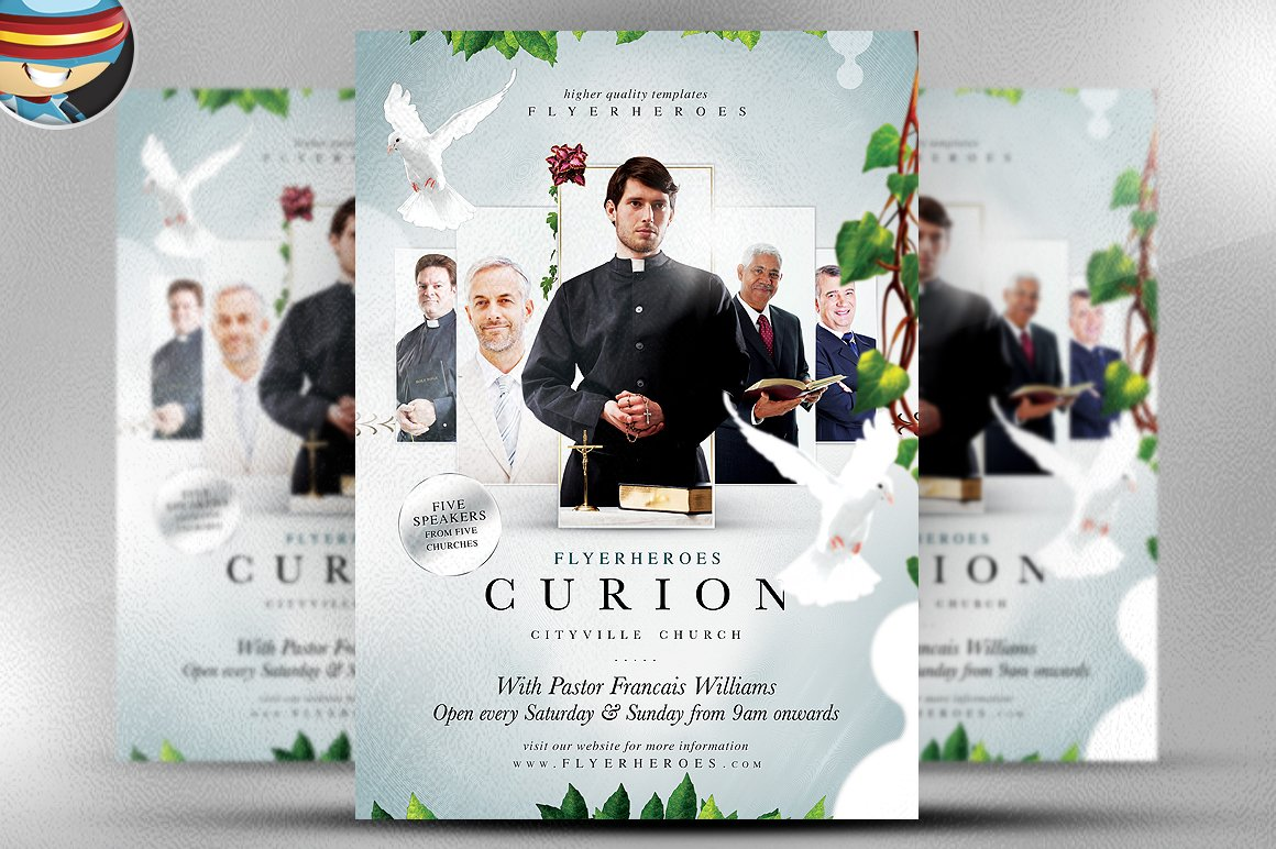 Curion church flyer template flyer templates creative market for Church psd templates free