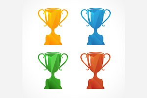 Colorful Icon Set Sports Cup. Vector