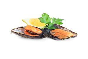 two mussels with lemon and parsley