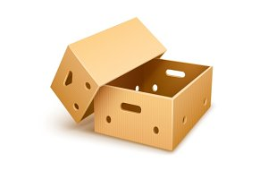 Empty cardboard box tare for fruits transportation and keeping