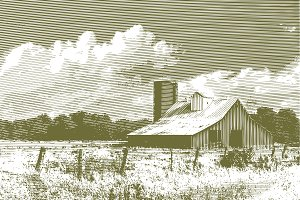 Engraved Barn and Silo
