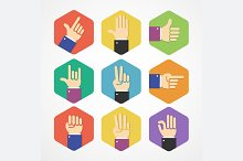 Flat Hands Icons Set. Vector
