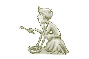 Engraved Thinking Boy