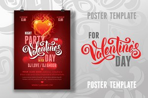 Poster template for Valentines Day