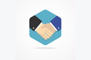 Flat Business Icon Handshake.