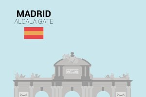 Alcala Gate, Madrid (Spain). Vector