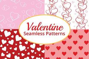 Seamless Valentines Hearts Patterns