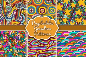 Set of psychedelic seamless patterns