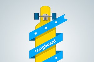 Yellow longboard for store vector