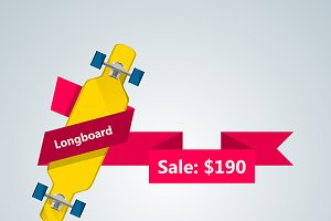Longboard with price ribbon vector