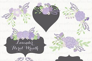 Lavender wreath clipart