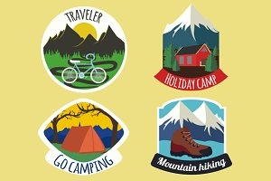 Vector set of camping emblems
