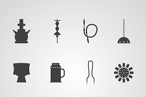 Hookah accessories vector icons