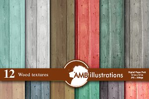 Wood Textures Digital Papers AMB-587