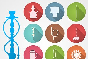 Hookah accessory color vector icons