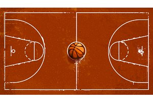 Grunge Basketball Court