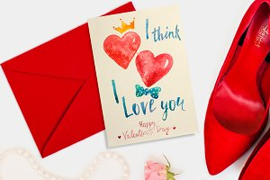 Watercolor lettering Valentine card