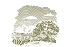 Mountain Farm Field Drawing