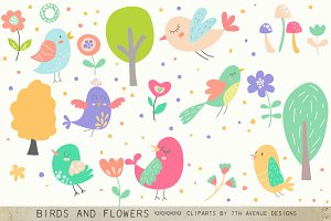 Birds and Flowers Cliparts